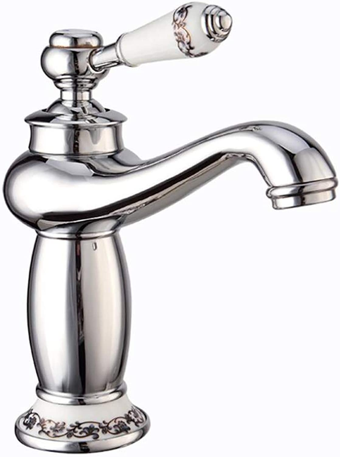 LINLIN Copper chrome faucet hot and cold water mixing single hole basin water-tap kitchen bathroom sink accessories,Silver