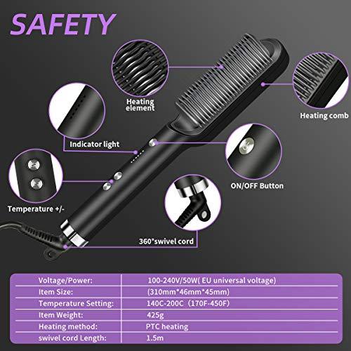 VKK Hair Straightener Brush, 25s Fast Heating Ceramic PTC-Stop Automatic-5 Levels Heat Adjustable Innovative heat protection sensor- Black