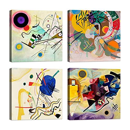 Cuadros kandinsky 4 piezas 30 x 30 cm Impresión sobre lienzo con marco de madera Decoración Arte