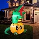 HOOJO 6 FT Halloween Inflatables Pumpkins Dinosaur Outdoor Halloween Decorations with Build-in LEDs, Blow up Halloween Decorations for Yard, Garden, and Lawn