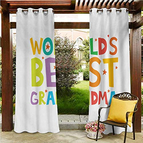 ScottDecor Grandma Dustproof Curtains for Pergola Sun Room Cartoon Style Lettering Worlds Best Grandma Quote with Stars Colorful Illustration Multicolor 108' W by 108' L(K274cm x G274cm)