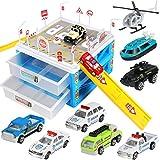 Geyiie Coche de policía de aparcamiento, coche de policía, juguete de juguete, juego completo de regalo para niños, niñas, niños de 3, 4, 5 años