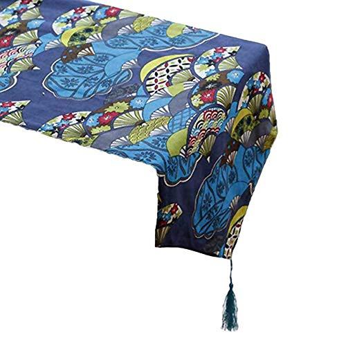 ZRWZZ Japanse ventilator tafellopers met kwastdecoratie emmer tafel lopers Fan patroon tafel mat tafelkleed handdoek lange tafelkleed tv-kast loper voor hotel bruiloft partij