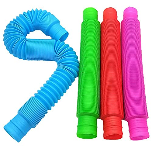 Srliya 4-Pack Pop Tubes Sensory Toy, Fidget Toys for Kids and Sensory Toys, Best Boys Girls Tweens & Teens Gadget & Top Birthday Gift Present Idea 2021