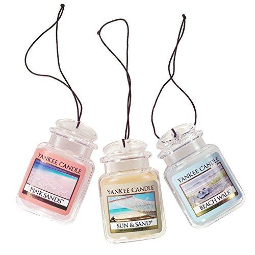 Yankee Candle Car Jar Ultimate Hanging Air Freshener 3-Pack (Beach Walk, Pink Sands, and Sun & Sand)