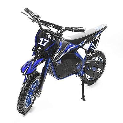 XtremepowerUS 36V Dirt Bike Ride-On Electric Motorcycle Kids Adult Teens Dual Shock/Disc Brake, Blue/Black