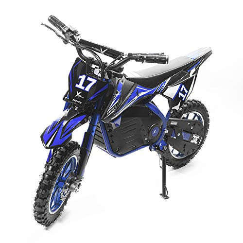 XtremepowerUS 36V Dirt Bike Ride-On Electric Motorcycle Kids Adult Teens Dual Shock/Disc Brake, Blue/Black