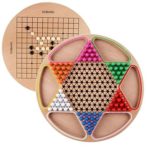 2 in 1 Chinese Checkers Gobang (vijf op een rij) Houten Board Game for Familie- Chinese Checkers familie bordspellen for kinderen en Volwassenen- Houten speelgoed for de 6 jaar oud zhihao