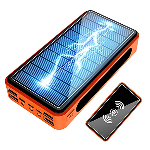 Caricabatterie Wireless Portatile, Powerbank Solare, 50000mAh Solare Power Bank 4 USB/6 Uscite e 4 Ingressi Batteria Esterna, IP66 Impermeabile Powerbank per iP-hone iP-ad S-amsung H-uawei,Naranja