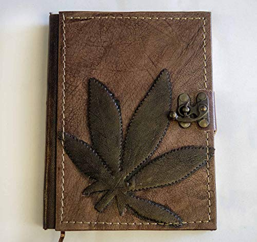 Cannabis ( Marijuana) Leather Notebook - Handmade Genuine Leather - Rustic Handmade Vintage Leather Bound Journals for Men and Women - Leather Book Diary Pocket Notebook, Brown 5,5x7 inch 288 pages