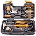 CARTMAN Orange 39-Piece Tool Set - General Household Hand Tool Kit with Plastic Toolbox Storage Case by Cartman
