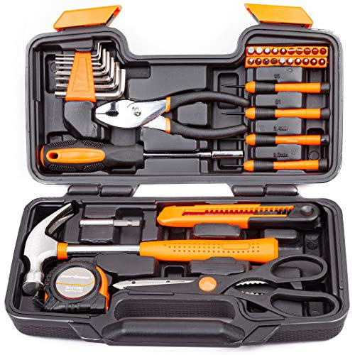 CARTMAN Orange 39Piece Tool Set  General Household Hand Tool Kit with Plastic Toolbox Storage Case