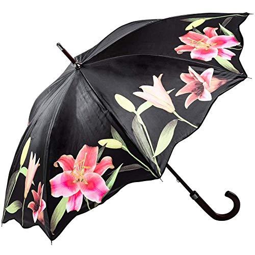 Regenschirm Stockschirm Damen Floral Motiv LILIEN