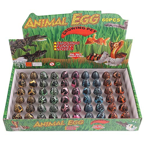 Yeglg Juego de 60 huevos de dinosaurio que crece en agua, para incubar huevos de dinosaurio, para crecer huevos, juguete educativo para niños, regalos de cumpleaños