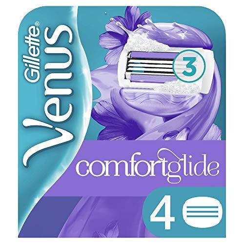Venus ComfortGlide Breeze Recambio De Maquinilla 2-en-1, 4Uds, Con Barras de Gel, Sin Necesidad De Gel De Depilación