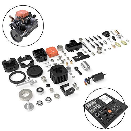 Macium Viertaktmotor Bausatz, Toyan RC Engine DIY Methanol Motor Toyan FS-S100AC Motor Modell Set für 1:10 1:12 1:14 RC Auto Boot Flugzeug