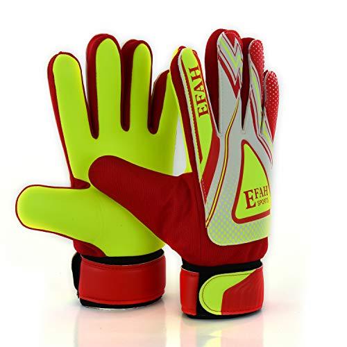 EFAH Guantes de Portero de fútbol para niños y niñas con Fuerte Agarre Protector Palmas (Red/Yellow, Size 3 Suitable for 5 to 6 Year Old)
