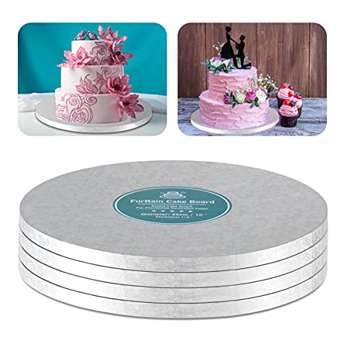 Cake Drums Round Silver Cake Boards with 1/2-Inch Thick Smooth Edges for Multi Tiered Birthday Wedding Party Cakes Drum Board (10 Inch)