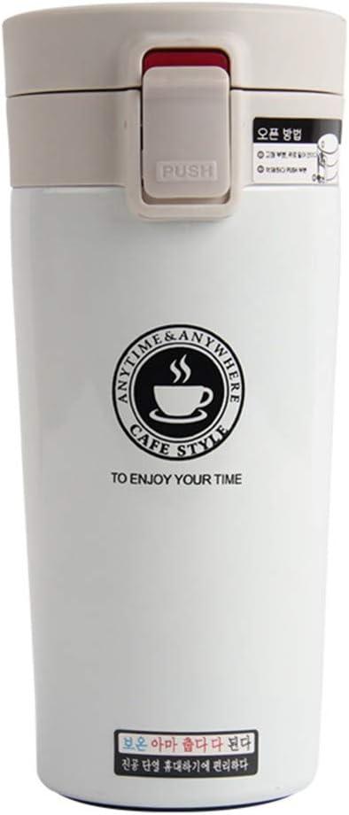 BJ-SHOP Termo, Taza Termo de Viaje Termoaisladas con Aislamiento Taza de Termo Acero Inoxidable Termo de Cafe Portatil Taza Coche (A-White)