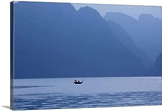 "Gallery-Wrapped Canvas Entitled Fishermen at Sunrise, Halong Bay, Hanoi, Vietnam by Scott Stulberg 18""x12"""