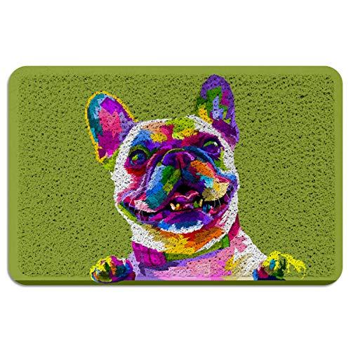 OneHoney Cute French Bulldog Welcome Outdoor Door Mat,Indoor Entrance Non-Slip Doormats,Outside Patio PVC Rug Pad,Heavy Duty Duraloop Mesh Dirt Mud Trapper - Animals Illustration Print