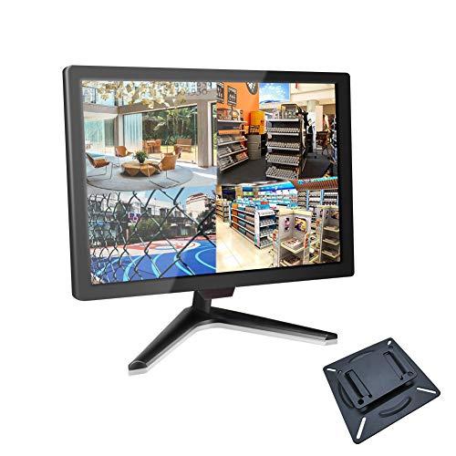 18,5' CCTV Monitor BNC, Monitor Seguridad 16: 9 con YPBPR/BNC/VGA/HDMI/Audio, Pantalla LCD TFT de 1336x768 para Seguridad Sistemas Hogar Cámara de Vigilancia STB PC (75x75mm VESA Montaje Pared)