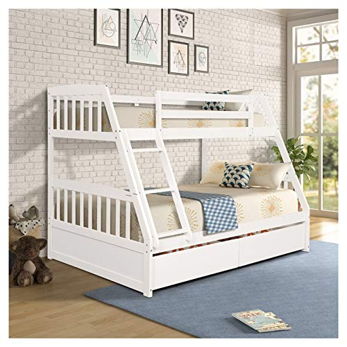 Solid Wood Twin over Full Bunk Bed with Two Storage Drawers Suitable for Family Bedroom or Apartment Dormitory No Need for Spring Box Easy Assembly U.S.A. Local Shipments Can Be Delivered Quickly