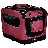 AmazonBasics – Transportín para mascotas abatible, transportable y suave de gran calidad, 53 cm, Rojo
