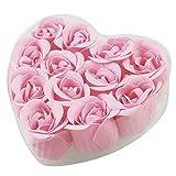 Rose Knospe Bluetenblatt Seife - SODIAL(R)12 Stueck Bade rosa Rose Knospe Bluetenblatt Seife +...