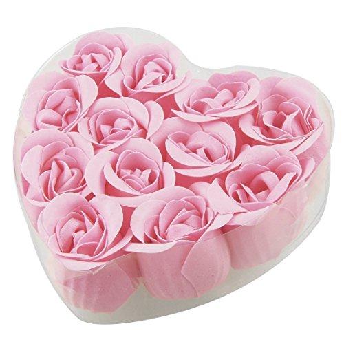 Jabon de petalos de capullo de rosa - SODIAL(R) 12 piezas jabones de petalos de flor de capullo de rosa rosada de bano + caja en forma de corazon