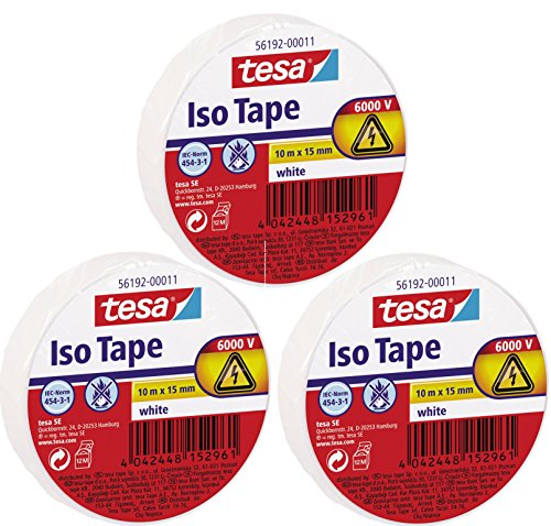 tesa 56192 ISO TAPE Isolierband, 10 m x 15 mm (3 Rollen, weiß)