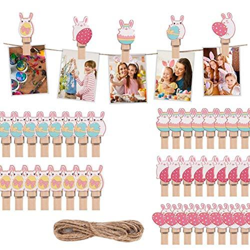 Pinzas de Conejito Clip Decorativo Clip de Madera de Pascua Conejito de Pascua Clips Pinzas de Madera Pequeñas Clips para Bricolaje Clips Decorativos de Madera de Colores para Fotografía(4 Juegos)