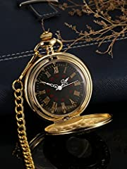 Vintage Pocket Watch Steel Men Watch with Chain (Gold) #2