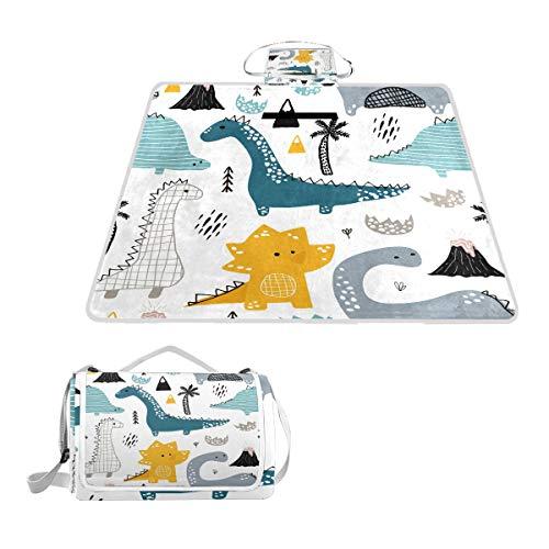 BALII Handgezeichnete Dinosaurier-Picknickdecke, Teppich, Matte, wasserdichte Unterseite, für Outdoor, Strand, Camping