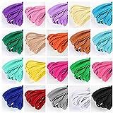 Tacobear 60 Piezas Cordón Elástico Colorido 6mm Cintas Elásticas Plano Goma Elastica Bandas Cuerda para Costura Diy Manualidades Ropa, 20 Colores