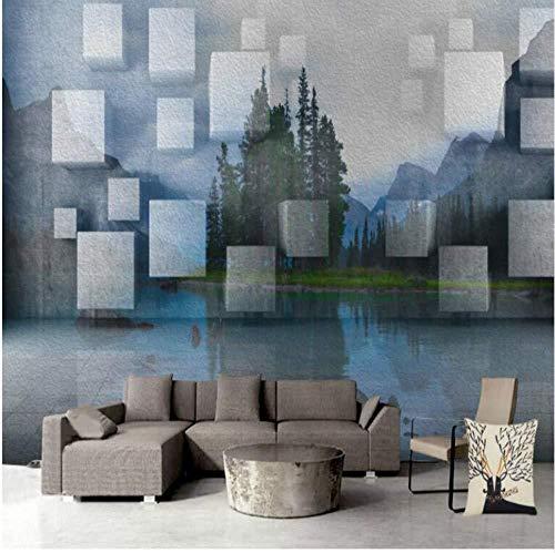 Modern geometrisch behang driehoekig decoratief schilderij woonkamer televisie achtergrond interieur behang van Landschap 3d (W)400x(H)280cm (W) 400 x (H) 280 cm