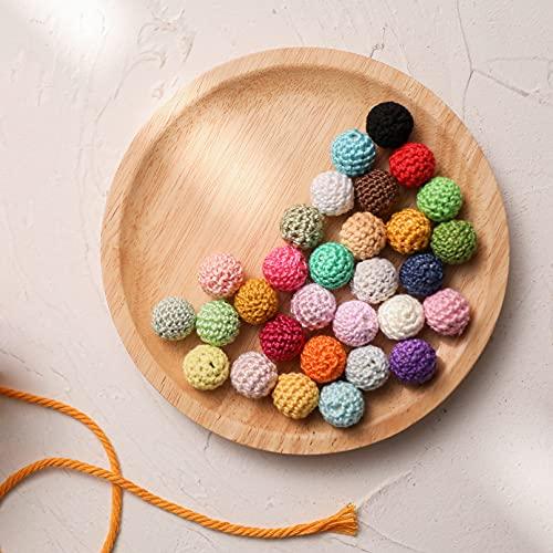 30pcs 16mm dentition crochet ball perles-perles crochet-embellissement-en bois coton fil Bead -Mix couleur-ronde perles Baby Teether jouets