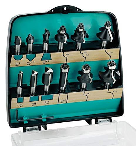 ENT 09012 12-tlg. Fräser Set Hartmetall - Schaft 8 mm - 8 verschiedene Fräser-Kategorien - in hochwertiger Kunststoffkassette