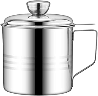 1.2L Stainless Steel Oil Strainer Pot Oilcan with Sieve Cover Kitchen Oiler Residue Filter Colander