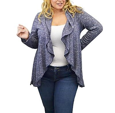 Urban Rose Women Plus-Size Cardigan Sweater – Open Waterfall Hem, Ribbed Pattern