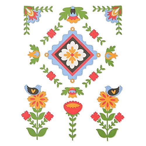 Sizzix 663607 Folk Art Elements by Courtney Chilson Stanzschablonen, Mehrfarben, Einheitsgröße