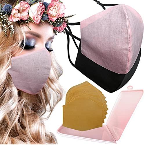 Cussi - Wiederverwendbare Hygienische Stoffmaske, zertifiziert UNE 0065:20 und BFE 99 %, waschbar bis zu 20 Zyklen – Packung mit 2 Masken, Etui, extra Filter (Rosa, Schwarz)