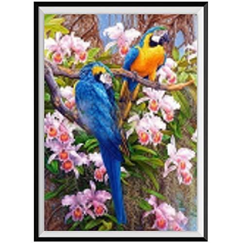 5D diy Árbol de pintura de diamantes en dos animales de loro azul con incrustaciones de diamantes bordado punto de cruz decoración del hogar regalo de año nuevo Diamante redondo 30x40cm
