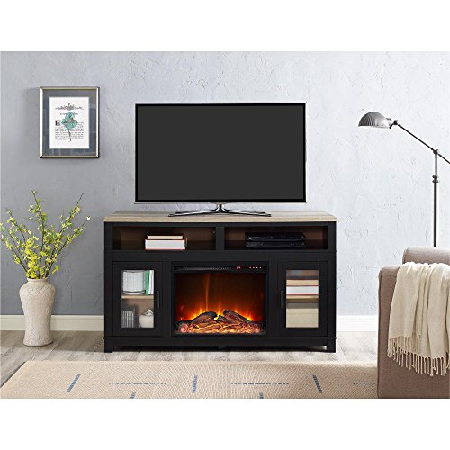 """Ameriwood Home Carver Electric Fireplace TV Stand for TVs up to 60"""" Wide, Black"""