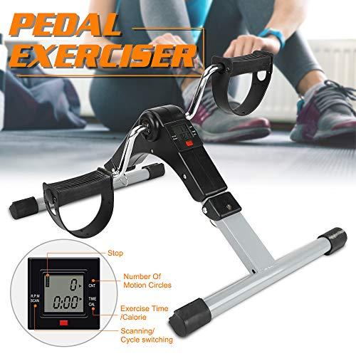 Triclicks Faltbarer Pedaltrainer Mini-Heimtrainer Fitnessgerät mit Digitalanzeige Für Beine und Arme Radfahren Geeignet für drinnen und draußen Für Bewegungs- und Rehabilitationstraining
