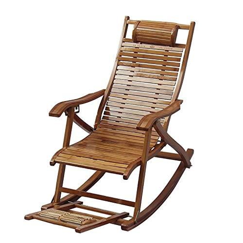Reclining Schommelstoel, loungestoel, voor volwassenen, van bamboe, luier voor balkon, schommelstoel, voor ouderen, man, vrijetijdsvouw A