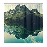 BEITUOLA Duschvorhang 180 x 180cm,Mountain Sharp Peaks Kurze Bäume, die zum ruhigen See reflektiert Werden,Wasserdicht Polyester Textil Stoff Badewannevorhang Shower Curtain