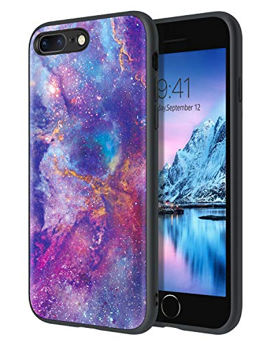 Funda para iPhone 8 Plus 7 Plus, iPhone 8 Plus, diseño de nebulosa morada, ajuste delgado, luminoso, brillante, ligero, antideslizante, carcasa flexible de TPU para iPhone 7 8 Plus, color morado