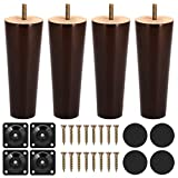 Sofa Legs, 6 Inch Wooden Furniture Legs, with Mid-Century Modern Style, Walnut Finished Legs, Set of 4 Suitable for Coffee Table and Bed Legs Upgraded