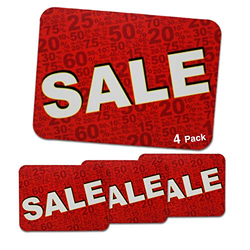 Sale Sign, Thick for Retail Stores, Sales, Clearance, Discounts | 9 x 12 inch Full-Color PVC Signs (4 Pack)